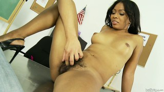 After sucking cock, the hot slut ebony babe  gets her hairy pussy licked by this horny guy