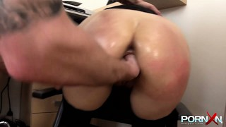 Little office whore gets punished with some brutal fist-fucking