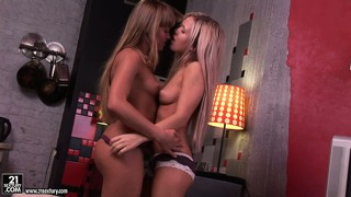 Two young lesbian freaks use a dildo in each other's sweet ass