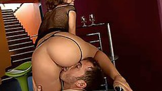 Beautiful young brunette hottie debbie white with delicious ass and red nail polish in fishnet blouse gives mind blowing blowjob to her lover and gets boned deep in close up